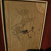 SALE PENDING Old Chinese textile silk decorated jacket framed as a fragment