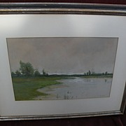AMEDEE JOULLIN (1862-1917) delicate pastel landscape of lake or swamp by well listed early San