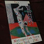 """SALE PENDING DAVID HOCKNEY (1937-) original offset 1981 lithograph poster """"Harlequin for"""