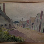 "LEANDER M. CHURBUCK (1861-1940) fine watercolor painting ""Rockport"" by noted Massach"