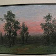 MARY STEWART DUNLAP (1846-1925) impressionist landscape plein air oil painting by listed Calif