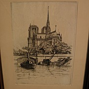 CAROLINE ARMINGTON (1875-1939) pencil signed original limited edition etching of Notre Dame ca