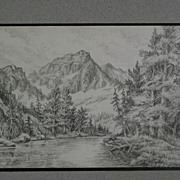 Small fine pencil drawing of Sierra Nevada or other western mountains above a lake