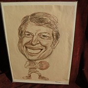 Original circa late 1970's JIMMY CARTER political cartoon drawing signed Jon Pearson