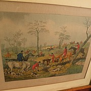 19th century English colored engraving of hunting scene with hounds and horsemen after HENRY A