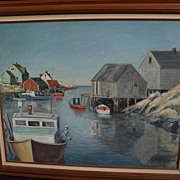 Canadian art large oil painting of fishing vessels in harbor at Peggy's Cove Nova Scotia