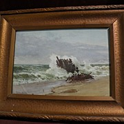 RUFUS WAY SMITH (1840-1900) fine coastal landscape watercolor painting by listed Ohio artist