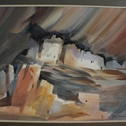 ROY E. SWANSON Southwest American art original watercolor painting of Mesa Verde Cliff ruins i
