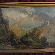 "THOMAS MORAN (1837-1926) original chromolithograph print of 1874 ""The White Mountains"""