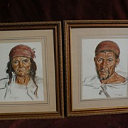 LOUIS J. ENDRES (1896-1989) well listed American orientalist artist **pair** of original paste