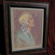 Signed American circa 1930's pastel drawing of a blonde woman in profile