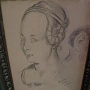 DAVID BURLIUK (1882-1967) Russian-American art original 1946 pencil drawing of a woman as ...