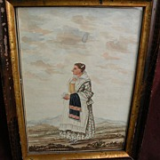 American folk art circa 1840 original watercolor and ink drawing of a lady in a ...