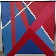 Colorful mid century modern signed abstract painting 1972