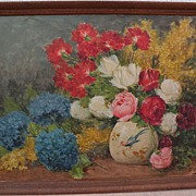 GIUSEPPE COCCO (1879-1963) impressionist floral still life painting by listed Italian artist