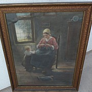 PAUL DOERING (1864-1947) original fine watercolor painting of mother and child in an interior