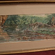 Circa 1800 English or American old ink and watercolor drawing of swans in a pond