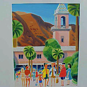 EARL CORDREY (1902-1977) very retro Palm Springs California art watercolor mid century paintin