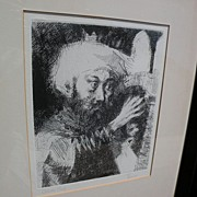 JACK LEVINE (1915-2010) pencil signed etching of Jewish theme subject by well listed Jewish Am