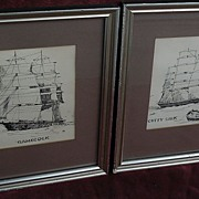 "PAIR of marine art ink drawings of clipper ships ""Gamecock"" and ""Cutty Sark"""