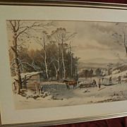 """CURRIER & IVES large hand colored restrike print circa 1953 of popular """"Winter in the Cou"""