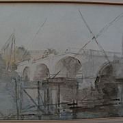 PHILIP CONNARD (1875-1958) watercolor painting of Richmond Bridge by important English 20th ce