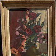 Vintage still life oil painting of flowers in a vase in modernist style