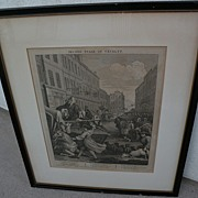 "WILLIAM HOGARTH (1697-1764) original famous engraving ""Second Stage of Cruelty"" note"