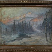 Utah art ANDREW W. DOWD (1869-1942) large impressionist winter mountain landscape painting by