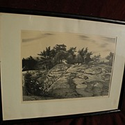 "STOW WENGENROTH (1905-1978) pencil signed lithograph print ""Woodland Ledge"" by well"