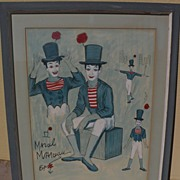 Marcel Marceau the mime original drawing by GEORGE CRIONAS (1925-2004) with celebrity provenan