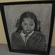 Southwest art original charcoal drawing of a young girl possibly from New Mexico or Arizona