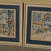 **PAIR** of circa 1960 signed Paris watercolor paintings of Place Vendome and  famous Le Dome