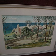 Bermuda art original mid century signed large watercolor painting of  traditional homes by the