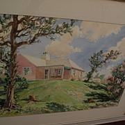 Bermuda art original mid century signed large watercolor painting of a  traditional island hom