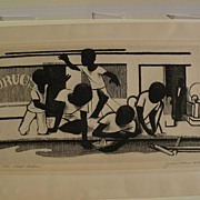 JOHN WOODROW WILSON (1922-) important African-American art pencil signed limited edition etchi