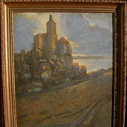 Modernist painting old world castle landscape signed and dated M. Lieberman 1905