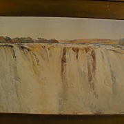 Topographical art original 19th century watercolor painting of a major waterfall possibly Igua