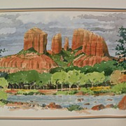 Southwestern art Sedona Arizona art original signed watercolor of the Red Rocks by gallery art