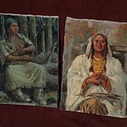 MARCO ANTONIO GOMEZ (1910-1972) **PAIR** Western Americana art paintings of the Native America