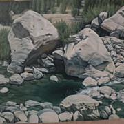 "CHUCK CAPLINGER Southwest art original painting ""Slow Water"" by acclaimed contempora"