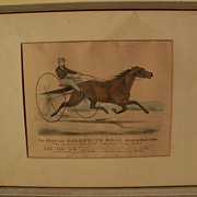 """CURRIER & IVES original hand colored 1871 lithograph print """"The Peerless GOLDSMITH MAID"""""""