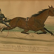 """CURRIER & IVES original hand colored 1881 lithograph print """"The Grand Horse ST. JULIEN, t"""