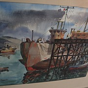 California watercolor school fine painting of docks at Ensenada Mexico by listed artist HERBER