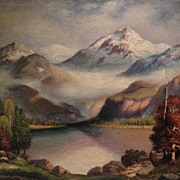 RICHARD DEY DE RIBCOWSKY (1880-1936) California art large oil on canvas mountain landscape pai