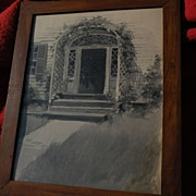 American art watercolor drawing of entry door on traditional 19th century home
