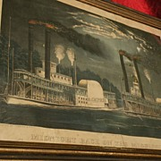 """CURRIER & IVES original hand colored 1875  lithograph """"Midnight Race on the Mississippi"""""""