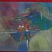Italian mid century modern art original colorful and dynamic pastel drawing signed MARINO date