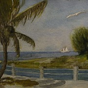 Vintage tropical art watercolor painting palms and boats in Bimini Bahamas