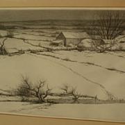 KERR EBY (1889-1946) fine winter snow Connecticut landscape etching print by American artist
